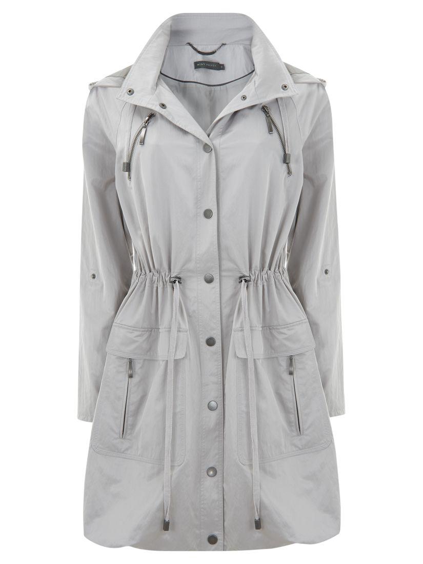 Mint Velvet Zip Parka Coat, Ivory