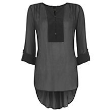 Buy Mint Velvet Dipped Hem Blouse, Black Online at johnlewis.com