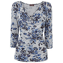 Buy Phase Eight Cassandra Floral Jersey Top, Grey/Blue Online at johnlewis.com