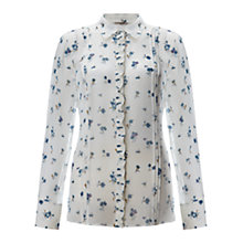 Buy Jigsaw Silk Chiffon Floral Shirt, Cream Online at johnlewis.com