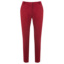 Buy Oasis Leila Jacquard Trousers, Burgundy Online at johnlewis.com