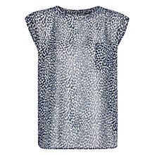 Buy Mango Leopard Blouse, Medium Blue Online at johnlewis.com