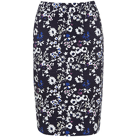 Buy Havren Jacquard Silk Cotton Pencil Skirt, Meadow Online at johnlewis.com