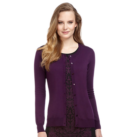 Buy Planet Round Neck Cardigan, Purple Online at johnlewis.com
