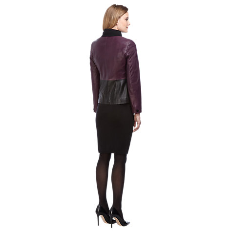 Buy Planet Colourblock Leather Jacket, Black / Purple Online at johnlewis.com