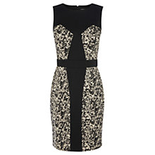 Buy Warehouse Printed Blocked Dress, Black Online at johnlewis.com