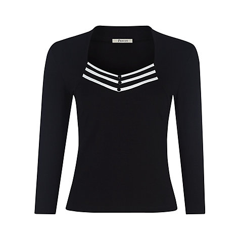 Buy Precis Petite Monochrome Top, Black/Ivory Online at johnlewis.com