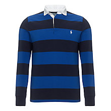 Buy Polo Ralph Lauren Long Sleeve Striped Polo Top, Cruise Navy Online at johnlewis.com