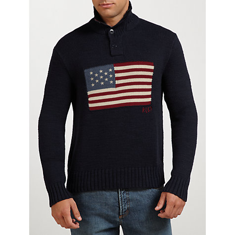 Buy Polo Ralph Lauren U.S. Flag Button-Neck Jumper, Navy/Multi Online at johnlewis.com