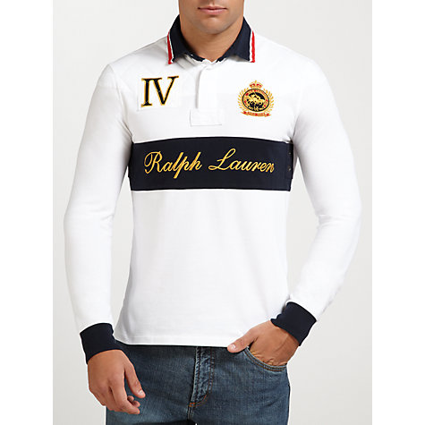 Buy Polo Ralph Lauren Crested Long Sleeve Polo Top, White/Multi Online at johnlewis.com