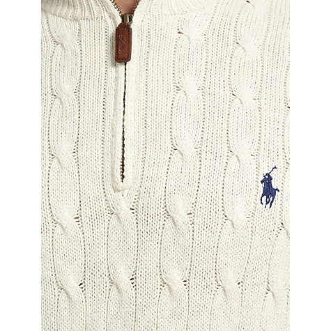 Buy Polo Ralph Lauren Tussah Silk Cable Knit Jumper, Sandtrap Online at johnlewis.com