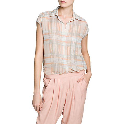 Buy Mango Checked Chiffon Shirt,  Natural White Online at johnlewis.com