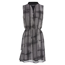 Buy Mango Mao Collar Printed Dress, Black Online at johnlewis.com