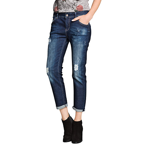 Buy Mango Ripped Boyfriend Jeans, Navy Online at johnlewis.com