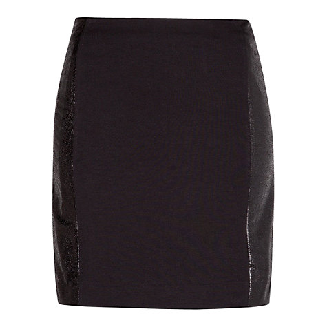 Buy Mango Shiny Panel Skirt, Black Online at johnlewis.com