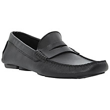 Buy Dune Benny Leather Driver Saddle Loafers, Black Online at johnlewis.com