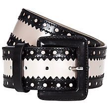 Buy Hobbs Addie Belt, Stone Grey Black Online at johnlewis.com