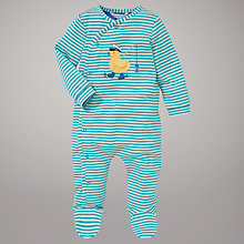 Buy John Lewis Baby Duck Design Stripe Jersey Sleepsuit, Green/White Online at johnlewis.com