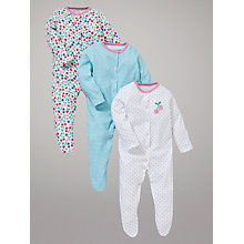 Buy John Lewis Baby Cherries Sleepsuits, Pack of 3, Multi Online at johnlewis.com