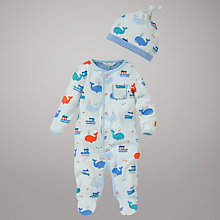 Buy John Lewis Baby Whale and Boats Jersey Sleepsuit with Hat, Blue Online at johnlewis.com