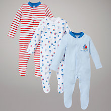 Buy John Lewis Baby Nautical Bodysuits, Pack of 3, Blue/Multi Online at johnlewis.com