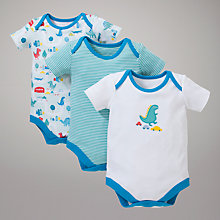 Buy John Lewis Baby Dinosaurs in the City Bodysuits, Pack of 3 Online at johnlewis.com