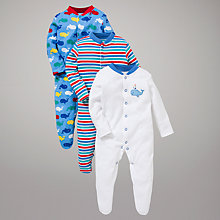 Buy John Lewis Baby Swimming Whales Sleepsuits, Pack of 3, Blue/Multi Online at johnlewis.com
