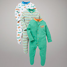 Buy John Lewis Baby Crocodile and Friends Sleepsuits, Pack of 3, Green/Multi Online at johnlewis.com