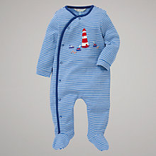 Buy John Lewis Baby Lighthouse Jersey Sleepsuit, Blue Online at johnlewis.com