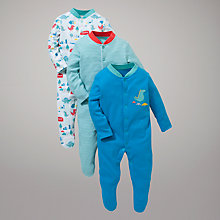Buy John Lewis Baby Dinosaurs in the City Sleepsuits, Pack of 3, Multi Online at johnlewis.com