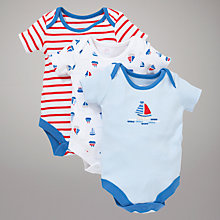 Buy John Lewis Baby Nautical Boats Bodysuit, Pack of 3, Multi Online at johnlewis.com