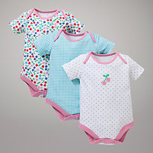 Buy John Lewis Baby Cherry Print Bodysuits, Pack of 3, Multi Online at johnlewis.com