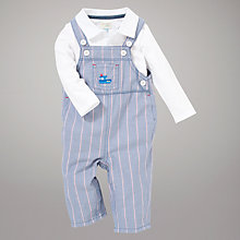 Buy John Lewis Baby Dungarees & Top Outfit, Blue/White Online at johnlewis.com