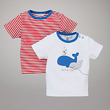 Buy John Lewis Baby Whale of a Time Short Sleeved Tops, Pack of 2, Multi Online at johnlewis.com