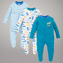 Buy John Lewis Baby Scruffy Dogs Sleepsuits, Pack of 3, Blue/Multi Online at johnlewis.com