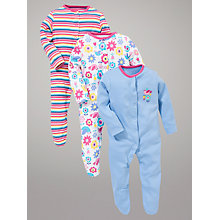 Buy John Lewis Baby Floral Birds Sleepsuits, Pack of 3, Multi Online at johnlewis.com