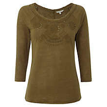 Buy White Stuff Sandstone T-Shirt, Light Bottle Green Online at johnlewis.com