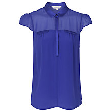 Buy French Connection Glacier Silk Cap Sleeve Top, Electric Blue Online at johnlewis.com