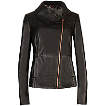Buy Ted Baker Jesmin High Collar Leather Jacket, Black Online at johnlewis.com