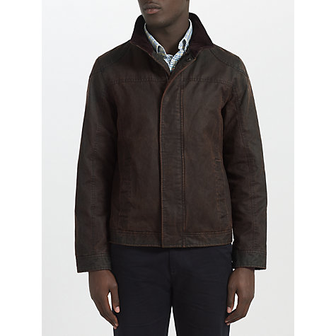 Buy John Lewis Faux Shortie Cord Collar Jacket, Brown Online at johnlewis.com