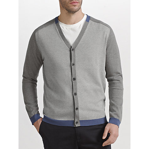 Buy Kin by John Lewis Cotton Block Cardigan, Grey Online at johnlewis.com