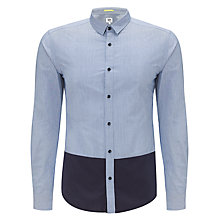 Buy Kin by John Lewis Hem Block Long Sleeve Shirt, Blue/Navy Online at johnlewis.com