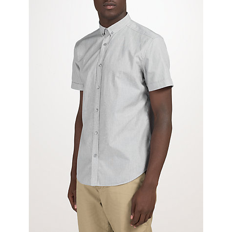 Buy Kin by John Lewis Fine Stripe Short Sleeve Shirt, Grey Online at johnlewis.com