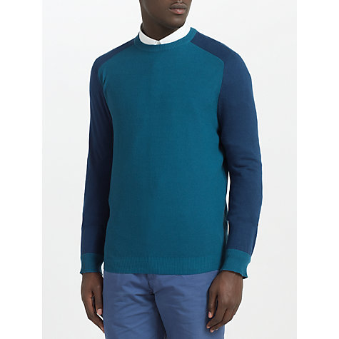 Buy Kin by John Lewis Contrast Panel Crew Neck Jumper, Blue/Green Online at johnlewis.com