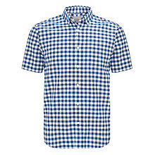 Buy John Lewis Oxford Check Short Sleeve Shirt, Cobalt/White Online at johnlewis.com