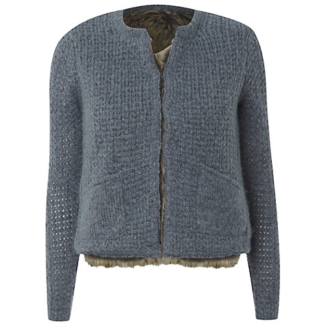 Buy White Stuff Reversible Faux Fur Cardi Jacket, Smokey Grey Online at johnlewis.com