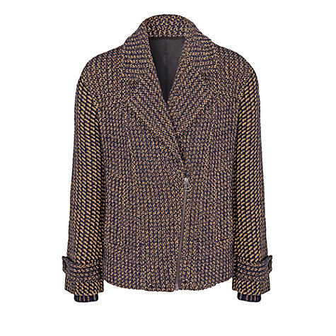Buy French Connection Triumph Tweed Biker, Navy/Camel Online at johnlewis.com