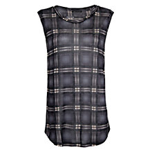 Buy Mango Checked Sleeveless Shirt, Dark Grey Online at johnlewis.com