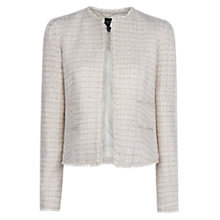 Buy Mango Frayed Edge Boucle Jacket, Natural White Online at johnlewis.com