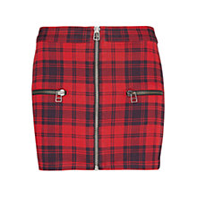 Buy Mango Plaid Zip Detail Mini Skirt, Bright Red Online at johnlewis.com